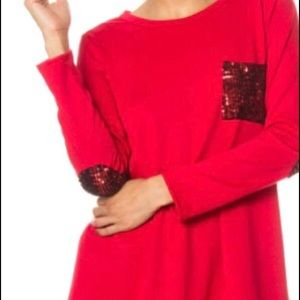 Red Blouse with Red Sequin Pocket & Elbow Patches